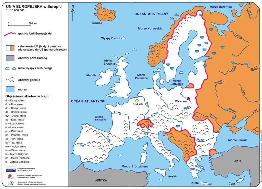 Unia Europejska W Europie Mapa Fizyczna